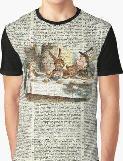 Alice in Wonderland,Tea Time Vintage Illustration,Dictionary Art Graphic T-Shirt