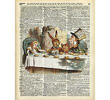 Alice in Wonderland,Tea Time Vintage Illustration,Dictionary Art Photographic Print
