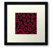 Dark Red lipstick imprints on black - pattern Framed Print