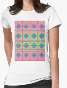 Pattern 034 red Dot, Blue Flower Pattern Womens Fitted T-Shirt