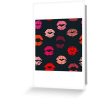 Colorful lipstick imprints on black - pattern Greeting Card