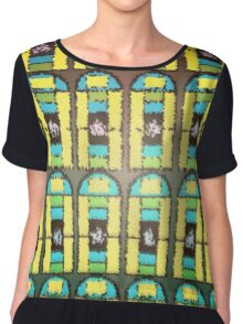 Pattern 037 Stained Glass Yellow Green Blue Frosted Chiffon Top