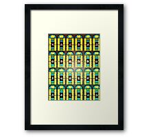 Pattern 037 Stained Glass Yellow Green Blue Frosted Framed Print