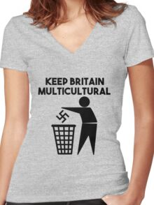 Keep Britain Tidy Parody Multicultural Antifascist Women's Fitted V-Neck T-Shirt