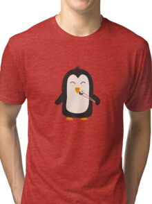 Penguin with sushi   Tri-blend T-Shirt