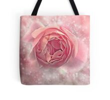 Digitally manipulated exploding Pink English rose as seen from above  Tote Bag