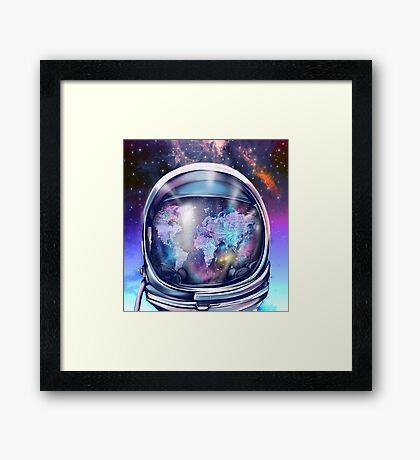astronaut world map 1 Framed Print
