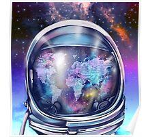 astronaut world map 1 Poster
