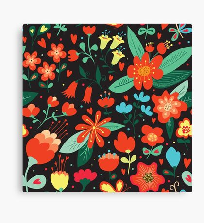 Flowers and hearts Canvas Print
