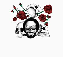 Grunge skulls and red roses (afro skull included. Color version) Unisex T-Shirt