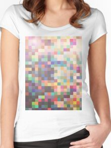 Pattern 039 Rainbow Multicolor Faded Women's Fitted Scoop T-Shirt