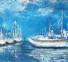 Harbor Reflections (mixed media) by Niki Hilsabeck