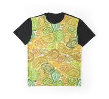 Green Watercolor Paisley Pattern Graphic T-Shirt