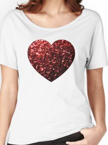 Beautiful Glamour Red Glitter sparkles Heart on white Women's Relaxed Fit T-Shirt