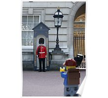The Lego Backpacker talking to the Queens Guard Poster