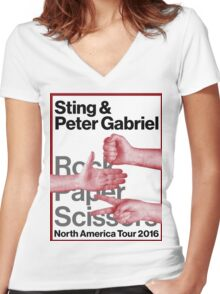 PETER GABRIEL STING ROCK PAPER SCISSORS 2016 Women's Fitted V-Neck T-Shirt