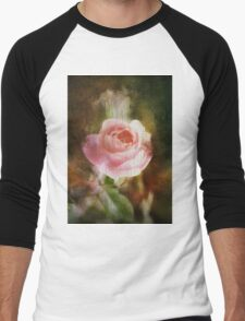 Computer generated old painting of a pink rose  Men's Baseball ¾ T-Shirt