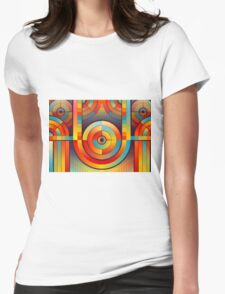 Abstract Rainbow Circle Pattern Womens Fitted T-Shirt