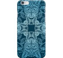 Fox hunting in the snow on blue iPhone Case/Skin