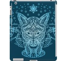 Fox hunting in the snow on blue iPad Case/Skin