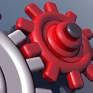 Brightly colored interlocking gears by Paul Fleet