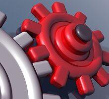 Brightly colored interlocking gears by Paul Fleet