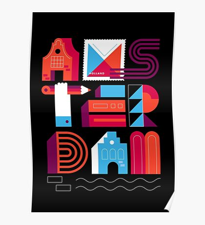 Postcards from Amsterdam / Typography Poster