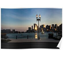 Sailing ship in front of the financial district Poster