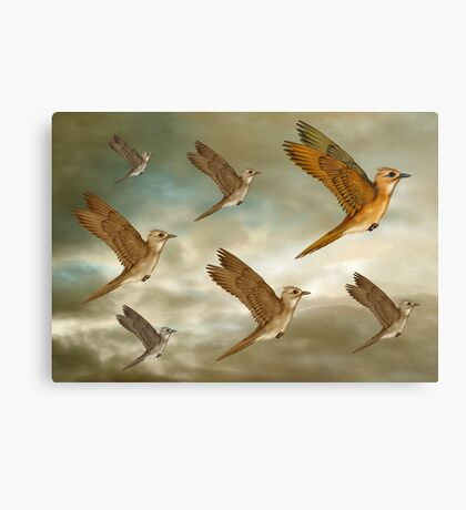 Flock of birds flying through the heavens Canvas Print