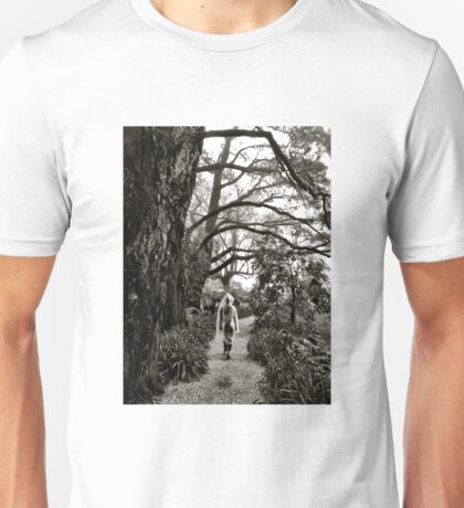 Mystery lady in the mist Unisex T-Shirt