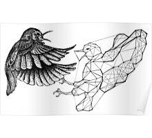 Dotwork Geometry Bird Fight Poster