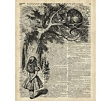 Alice With Cheshire Cat,Alice In Wonderland,Vintage Dictionary Art Photographic Print