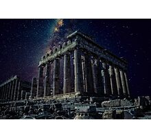 Starlight over an ancient monument.. Photographic Print