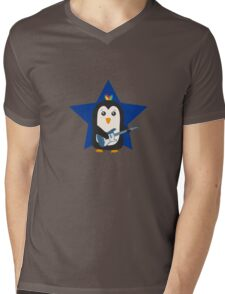 Rock Guitar Penguin Mens V-Neck T-Shirt