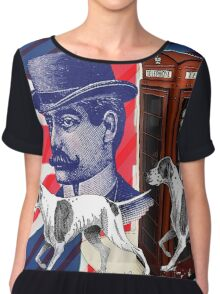 vintage mustache men british hunt dog Union jack Chiffon Top