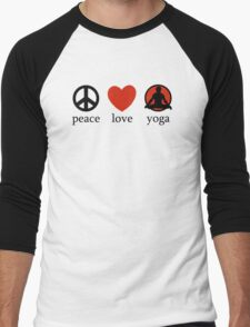 Peace Love Yoga T-Shirt Men's Baseball ¾ T-Shirt