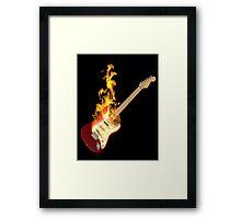 Guitar on Fire Framed Print
