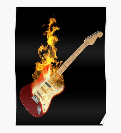 Guitar on Fire Poster