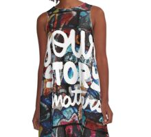 colorful hip hop grunge your story matters graffiti  A-Line Dress