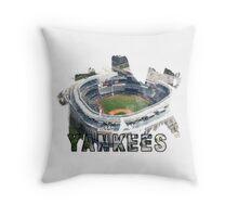 Yankee Stadium Grunge Logo Throw Pillow