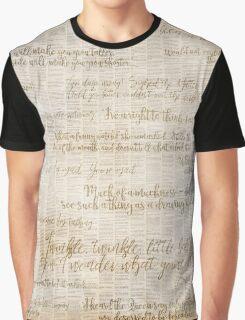 Alice In Wonderland Book Text Graphic T-Shirt