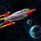 Retro rocket in space by Paul Fleet