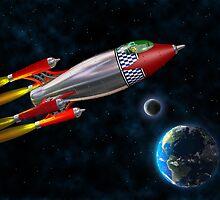 Retro rocket in space by Paul Fleet