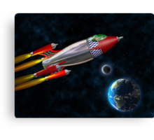 Retro rocket in space Canvas Print