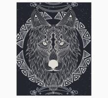 Wolf tribal and dark Hippie Wild animal One Piece - Short Sleeve
