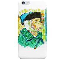 Sloth-portrait with a Bandaged Ear iPhone Case/Skin