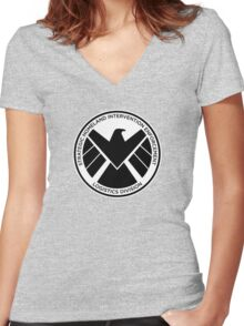 SHIELD of Nick Fury Logo Women's Fitted V-Neck T-Shirt