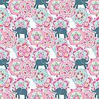 Tiny Elephants in Fields of Flowers by micklyn