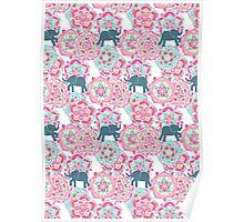Tiny Elephants in Fields of Flowers Poster