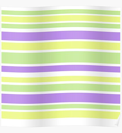 Bright Purple Yellow Green Stripes Poster